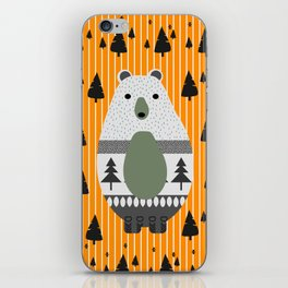 Cute bear, stripes and a fir forest iPhone Skin