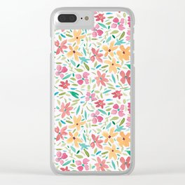 Clementine and Coral Watercolor Floral Light Clear iPhone Case