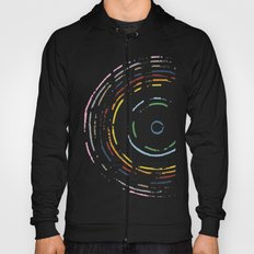 Rainbow Record on Black Closeup Hoody