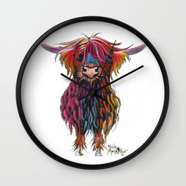Scottish Highland Cow ' WiNSToN ' by Shirley MacArthur Wall Clock