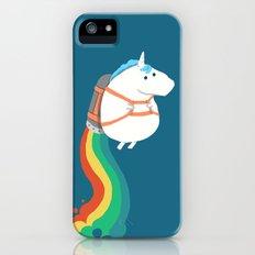 Fat Unicorn on Rainbow Jetpack Slim Case iPhone SE