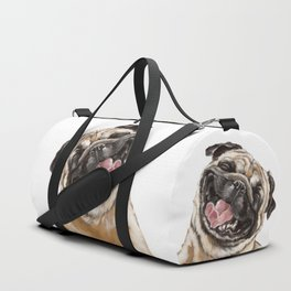 Happy Laughing Pug Duffle Bag