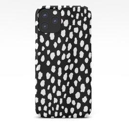 Handmade polka dot brush strokes (black and white reverse dalmatian) iPhone Case