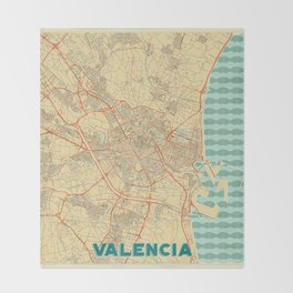 Valencia Map Retro Throw Blanket