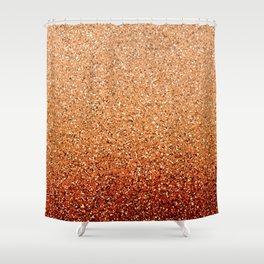 Burnt Orange Ombre Glitter Shower Curtain