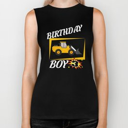 3 Years Old Birthday Design Bulldozer GifDesign  Biker Tank