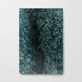 Turquoise Snake Skin Metal Print