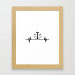 Scales Of Justice Heartbeat Lawyer Judge Framed Art Print