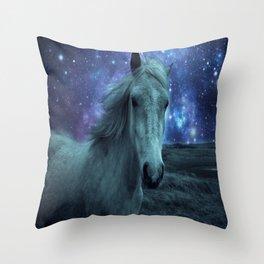 Fairy tale Horse Dark Blue Galaxy Skies Throw Pillow