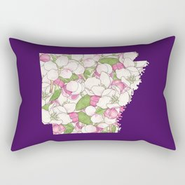Arkansas in Flowers Rectangular Pillow