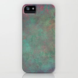 Grunge Garden Canvas Texture: Pink and Teal Baroque iPhone Case