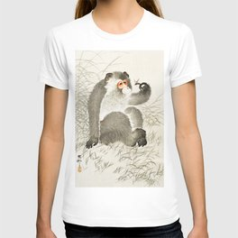 Curious Monkey and insect - Vintage Japanese Woodblock Print Art T-shirt