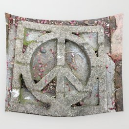 Peace sign on sidewalk in California Wall Tapestry