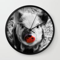 piglet Wall Clocks featuring BW splash sweet piglet by MehrFarbeimLeben