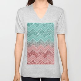 Summer Vibes Glitter Chevron #1 #coral #mint #shiny #decor #art #society6 Unisex V-Neck