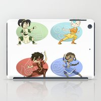 airbender iPad Cases featuring Earth Air Fire Water by dedfox