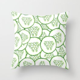Cucumber slices pattern design Throw Pillow
