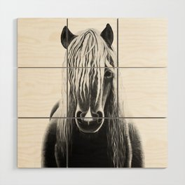 Horse Black and White Painting Wood Wall Art