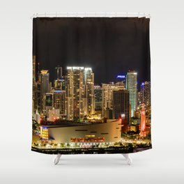 City of Miami at Night Shower Curtain