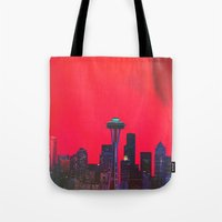 seattle Tote Bags featuring Seattle. by Daniel Montero