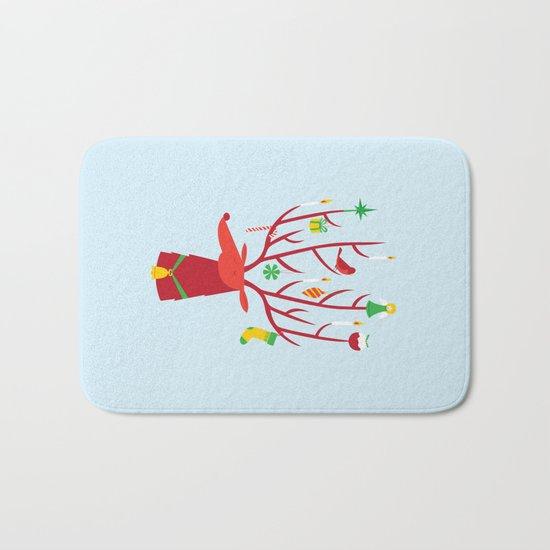 Reindeer (Blue version) Bath Mat
