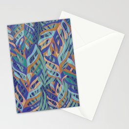 Tropical palms, blue green pattern Stationery Cards