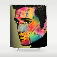 elvis presley Shower Curtains featuring Elvis Presley by mark ashkenazi