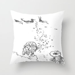 Two Tailed Duck and Jellyfish White Throw Pillow