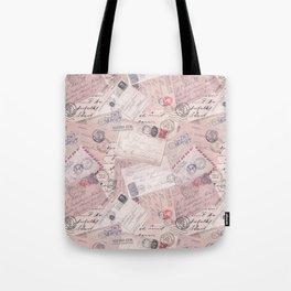 Nostalgic Letter and Postcard Collage Soft Pink Tote Bag