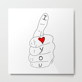 I love you - thumbs up Metal Print