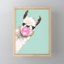 Bubble Gum Sneaky Llama in Green Framed Mini Art Print