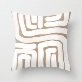 Tan and White Lines Abstract Print Throw Pillow