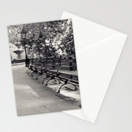 On a Park Bench At City Hall Stationery Cards