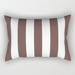 Rose ebony purple - solid color - white vertical lines pattern Rectangular Pillow