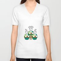polkadot V-neck T-shirts featuring Cute Monster With Green And Brown Polkadot Cupcakes by Mydeas