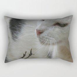 Close Up Of A Piebald Cat Rectangular Pillow