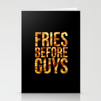 french fries Stationery Cards featuring Fries Before Guys - French Fries by Kris James