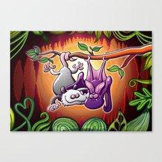 Opossum and Bat in Love Canvas Print