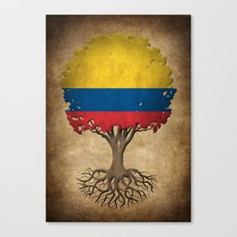 Vintage Tree of Life with Flag of Colombia Canvas Print