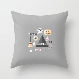 Pumpkin, witches hat, ghost, bat and all other Halloween essentials Throw Pillow