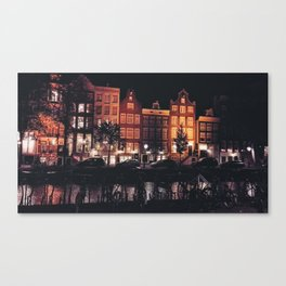 Amsterdam canal at night Canvas Print