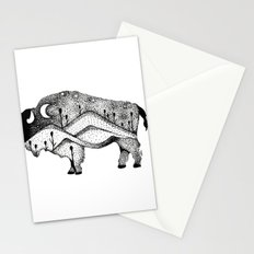 White Bison Spirit Animal Totem Pointillism Stationery Cards
