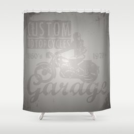 Vintage Distressed Custom Motorcycle Garage Shower Curtain