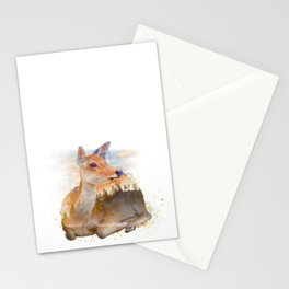 Sitting Deer Landscape Watercolor Stationery Cards