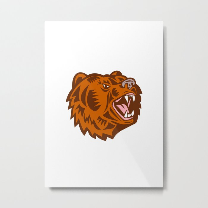 California Grizzly Bear Head Growling Woodcut Metal Print