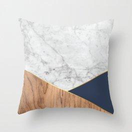 Geometric White Marble - Wood & Navy #599 Throw Pillow