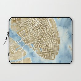 Charleston, South Carolina City Map Art Print Laptop Sleeve