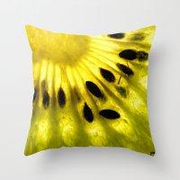 kiwi Throw Pillows featuring Kiwi by Irene Leon