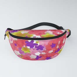 Bright Floral Pattern with Flowery Girly Flowers in Preppy Pink and Purple Fanny Pack