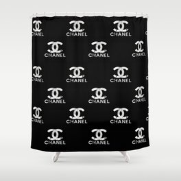 Couture Fashion Designer Inspired Marble Typography Shower Curtain